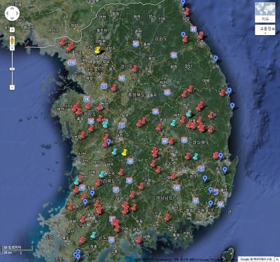 현재 답사 현황 (구글 맵)